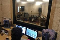 David en la grabación de la maqueta de Skintight